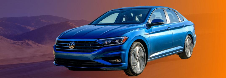 2019 VW Jetta on blue and orange gradient background