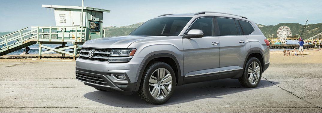 2019 VW Atlas parked on a beach boardwalk.