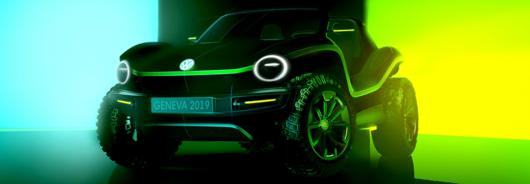 VW electric dune buggy concept photo in a dim neon-lit room.