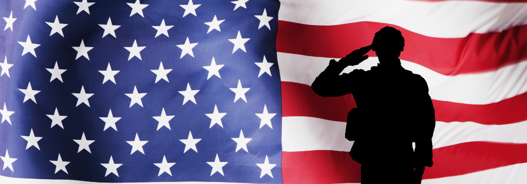 The silhouette of a military man salutes in front of the upper half of a gigantic American flag.