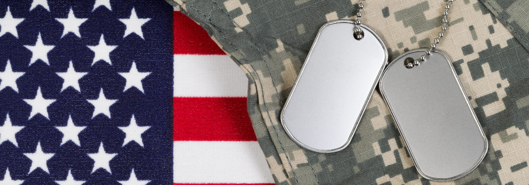 American flag, dogtags, and camouflage.