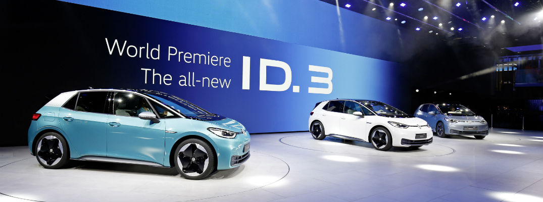 A photo of the Volkswagen ID.E electric hatchback on display in Germany.