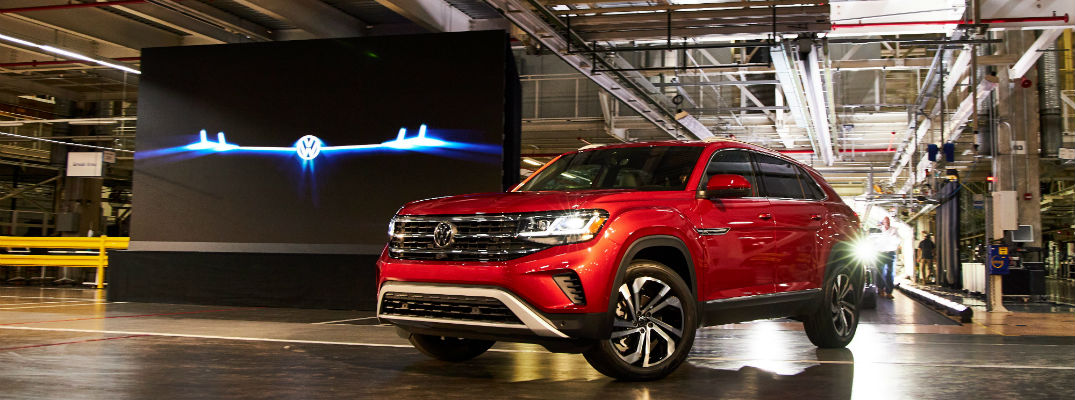 A photo of the 2020 Volkswagen Atlas Cross Sport at a VW facility.