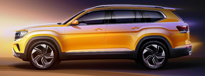 A left profile sketch of the 2021 Volkswagen Atlas.