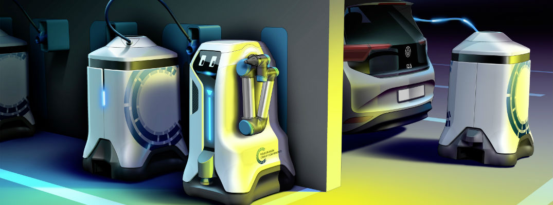 A photo illustration of the Volkswagen Electric Charging Robot in action.