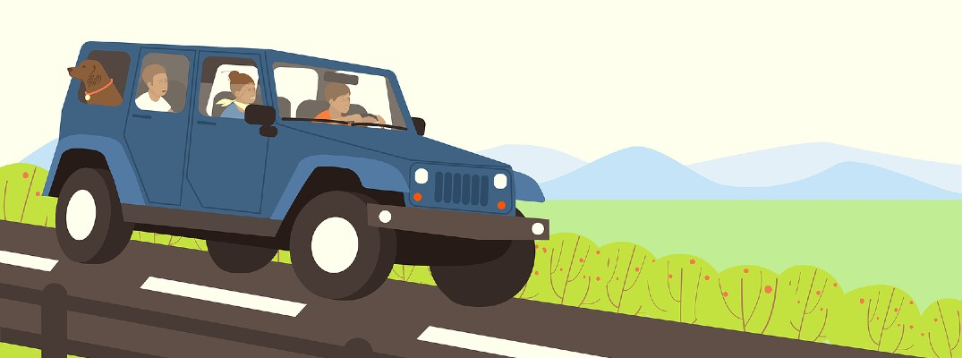 An illustrated picture of a family in a vehicle going on a trip.