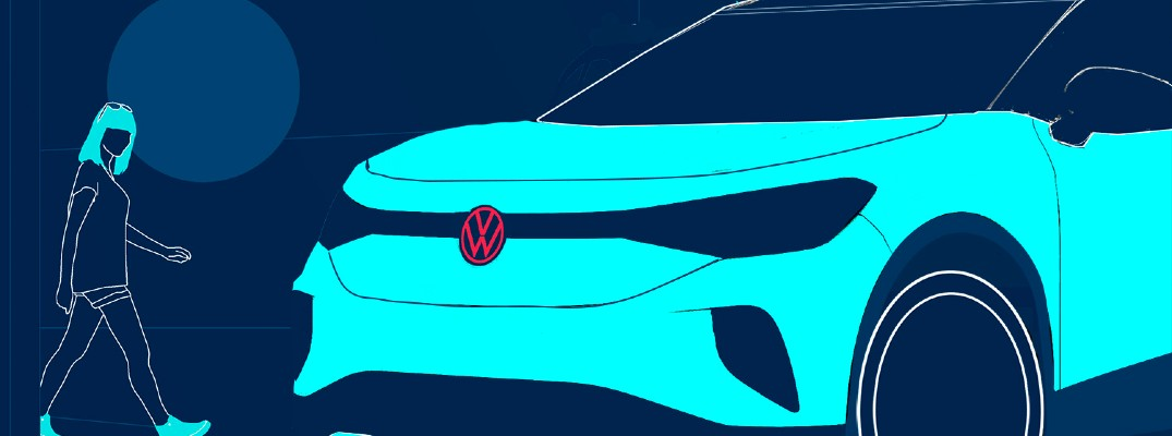 A photo illustration of a person looking a new Volkswagen electric vehicle.