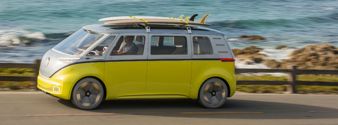 A left profile photo of the Volkswagen ID BUZZ concept vehicle.