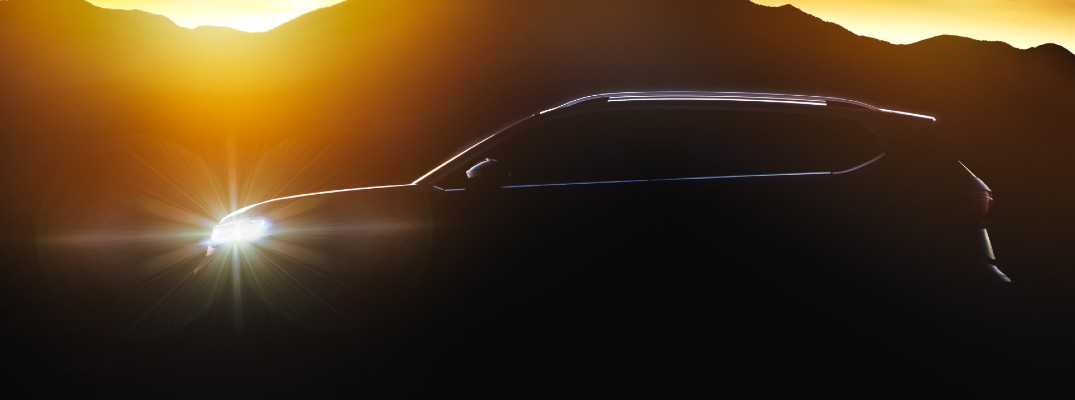 A silhouetted photo of the new Volkswagen Taos.