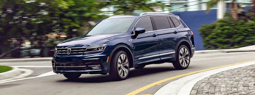 A front left quarter photo of the 2021 Volkswagen Tiguan.