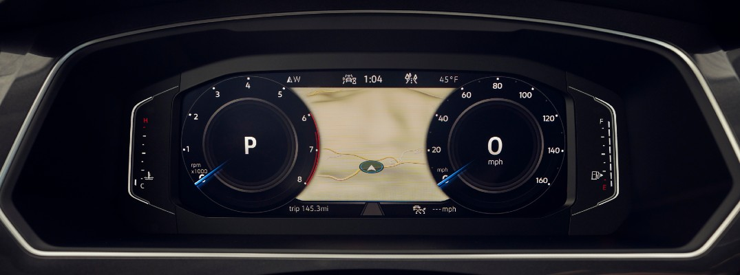 A photo of some navigation info available in some 2021 Volkswagen vehicles.
