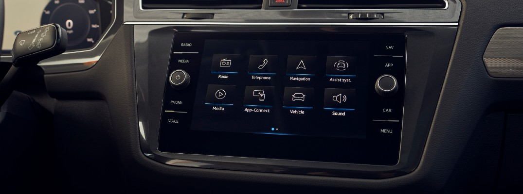 A photo of the touchscreen interface in a Volkswagen vehicle.