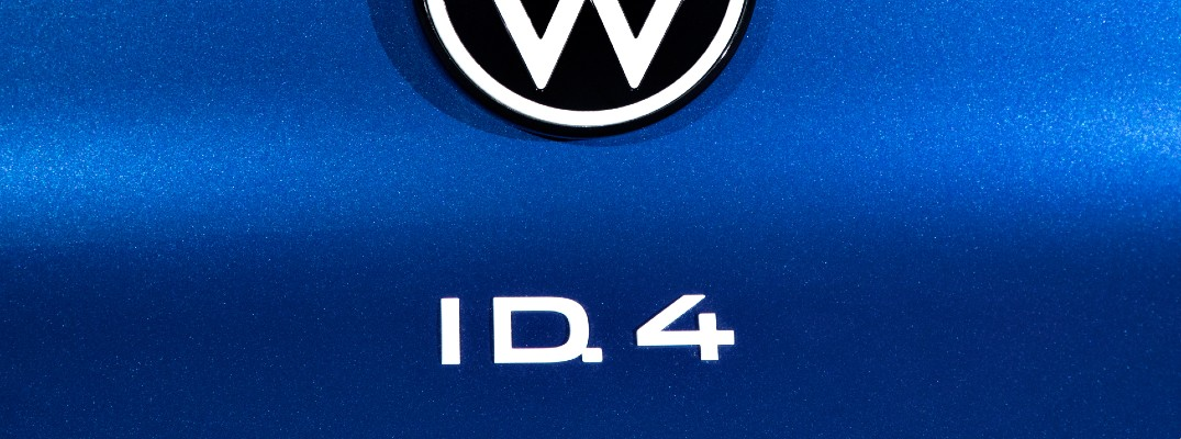 A photo of the ID.4 badge used on the back of the 2021 Volkswagen ID.4.