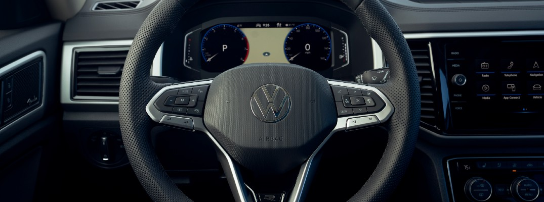 The Volkswagen steering wheel will control many of the safety functions now available.