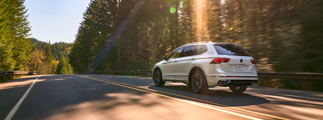 The 2022 VW Tiguan in motion on the road.