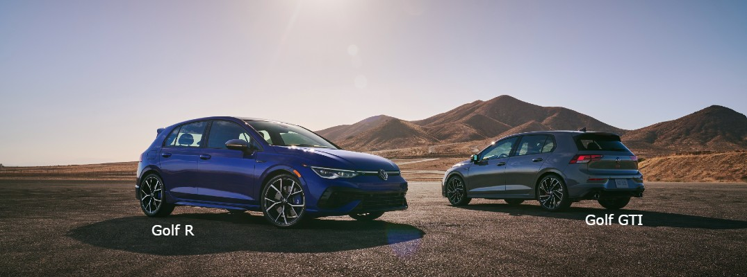 A photo of the 2022 Volkswagen Golf R (left) and 2022 VW Golf GTI (right).