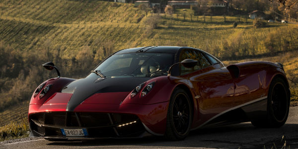 Exterior View of the 2017 Pagani Huayra in Red and Black