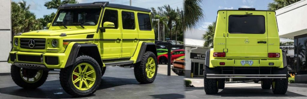 Yellow 2017 mercedes benz g wagon 4x4 squared for sale for Mercedes benz house of imports service