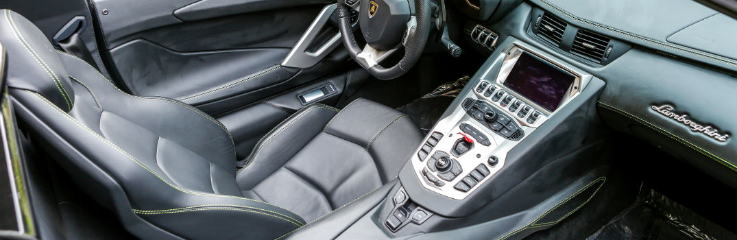 Lamborghini Interior Detail Clean Black Leather Seats Dashboard