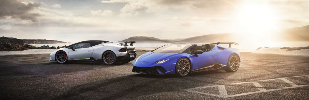 2019 Lamborghini Huracan Performante Spyder Exterior Driver Side Blue Top Down White Top Up