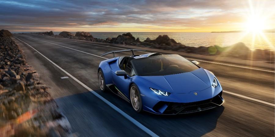 Blue 2019 Lamborghini Huracan Performante Spyder Exterior Passenger Side Front