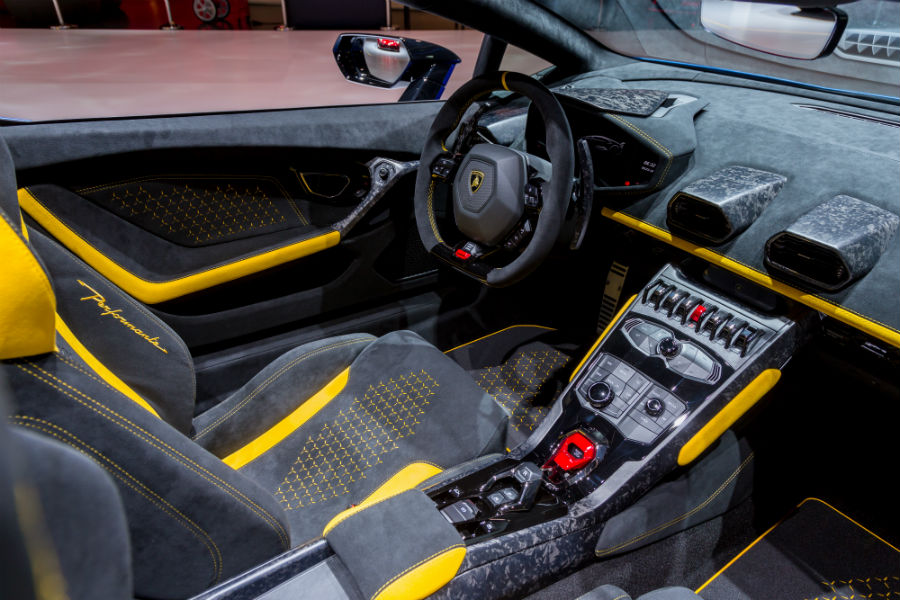 Blue 2019 Lamborghini Huracan Performante Spyder Interior Cabin Dashboard