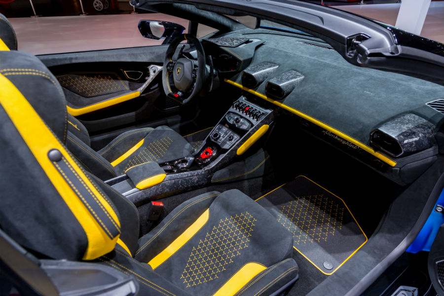 Blue 2019 Lamborghini Huracan Performante Spyder Interior Cabin Front