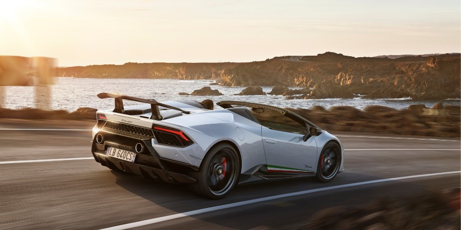 White 2019 Lamborghini Huracan Performante Spyder Exterior Passenger Side Rear