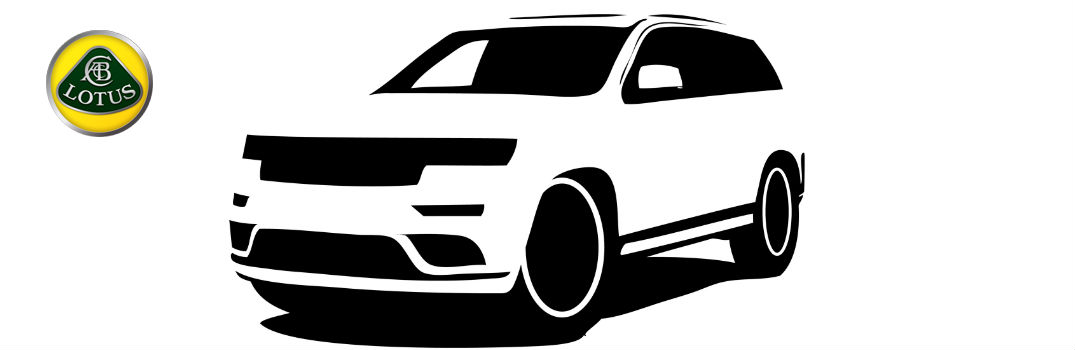 Sport Utility Vehicle Silhouette with Lotus Cars Logo in Corner
