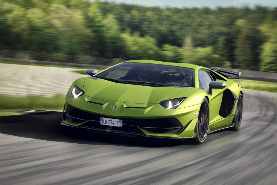 2019 Lamborghini Aventador SVJ Green Exterior Driver Side Front Angle