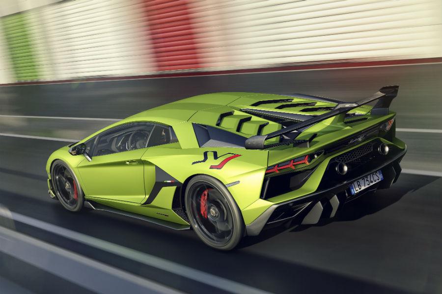 2019 Lamborghini Aventador SVJ Green Exterior Driver Side Rear Angle