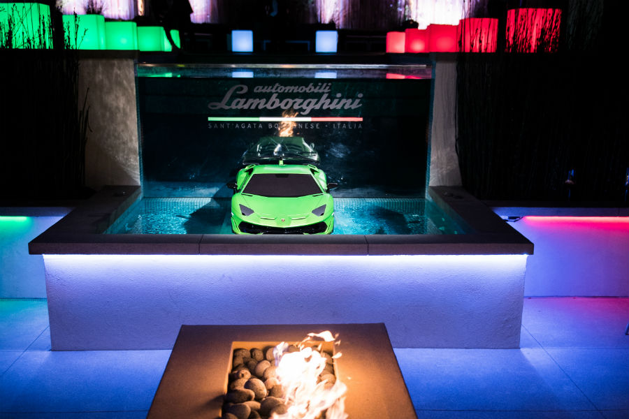 2019 Lamborghini Aventador SVJ Green-Exterior Front Fascia in a Water Display