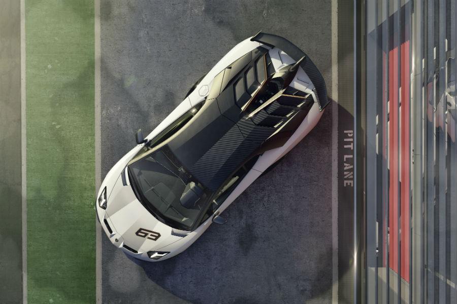 2019 Lamborghini Aventador SVJ White Exterior Aerial