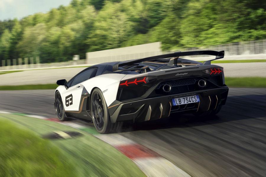 2019 Lamborghini Aventador SVJ White Exterior Driver Side Rear Angle
