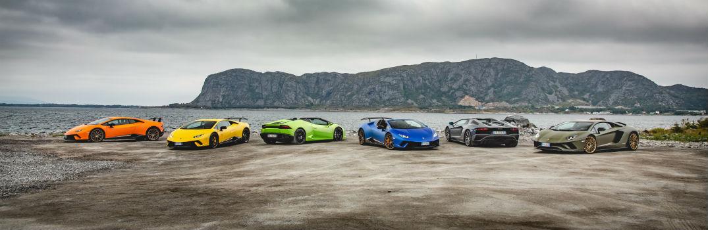 Lineup of Colorful Lamborghini Models in Norway