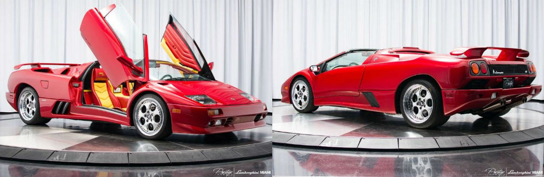 1999 Lamborghini Diablo VT Roadster Momo Edition Exterior Passenger Side Front Doors Up Driver Side Rear Angles