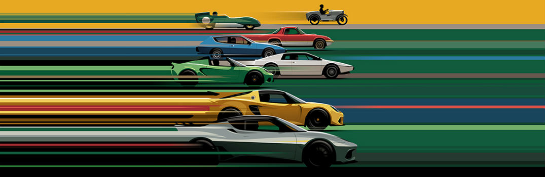 Many Lotus Vehicles Through the Years Drawn
