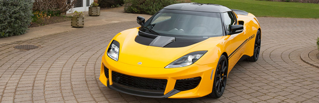 Yellow Lotus Evora Exterior Driver Side Front Angle