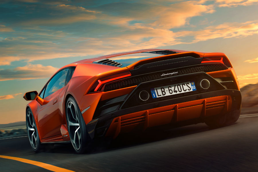 2020 Lamborghini Huracan EVO Exterior Driver Side Rear Angle