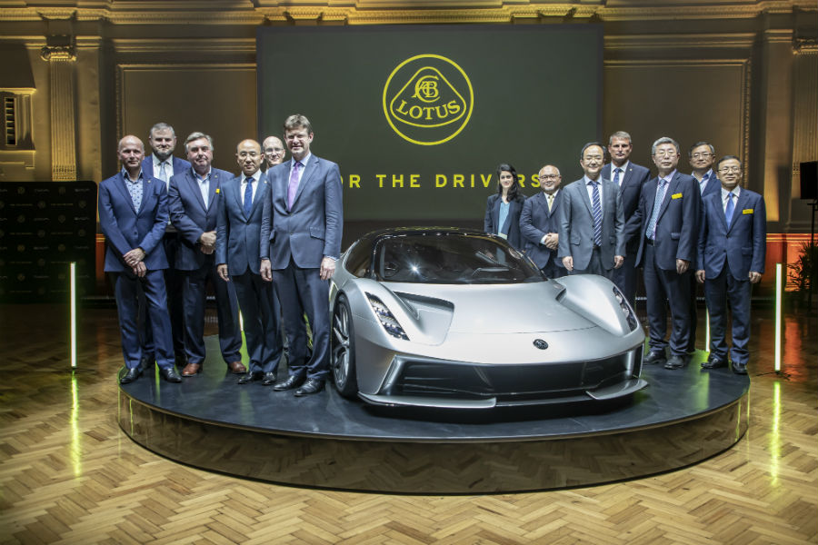 Lotus Cars Executive around Evija at Reveal