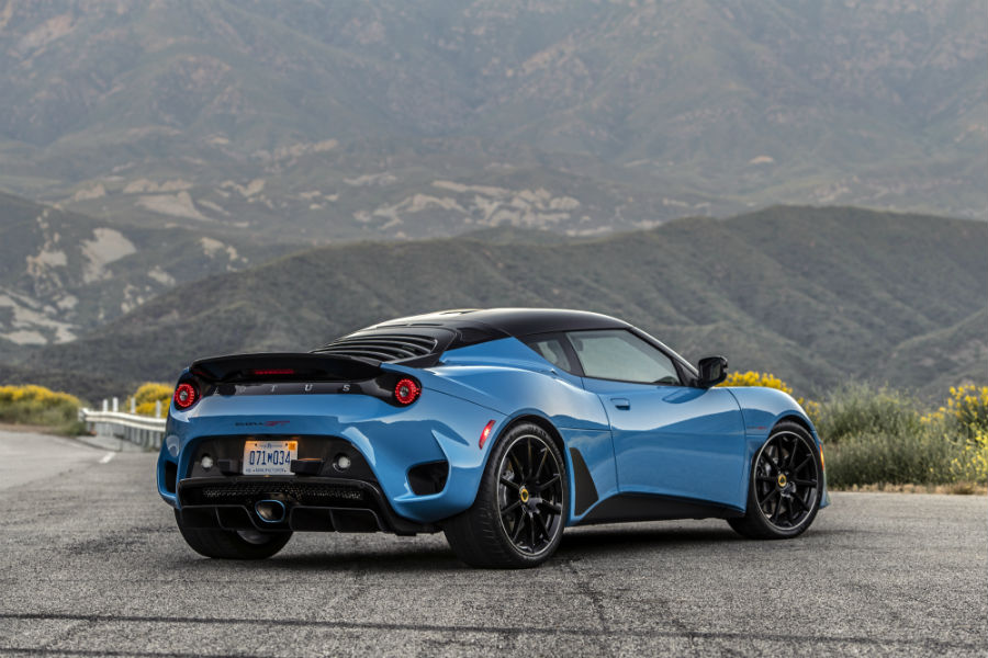 2020 Lotus Evora GT Cyan Blue Exterior Passenger Side Rear Profile
