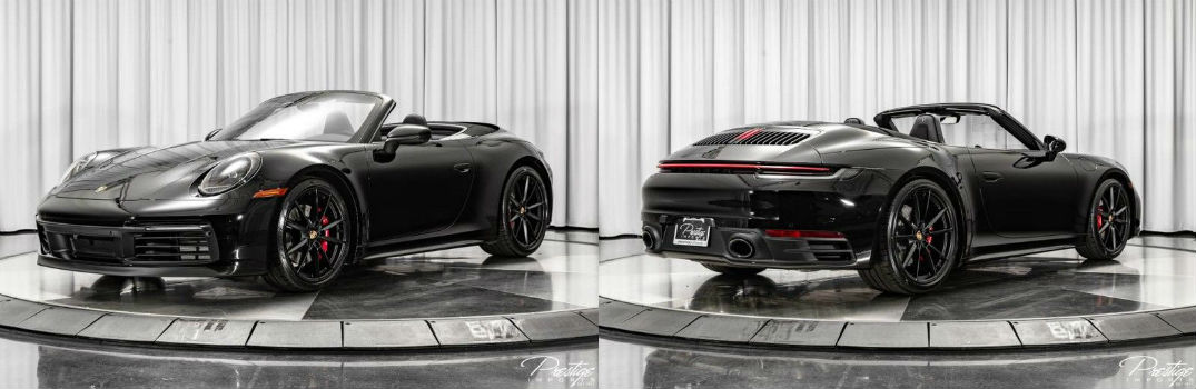 2020 Porsche 911 Carrera S Cabriolet Exterior Driver Side Front Passenger Rear Profiles with Top Down