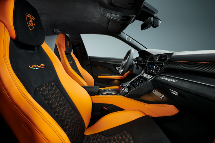 2021 Lamborghini Urus Pearl Capsule in Arancio Borealis Interior Cabin Seating & Dashboard