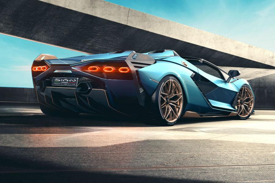 Lamborghini Sian Roadster Exterior Driver Side Rear Profile