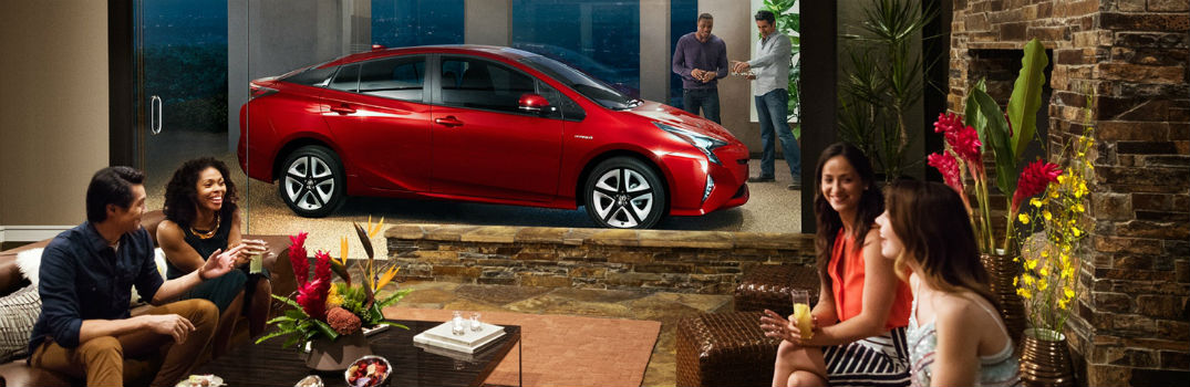 2017 Toyota Prius Exterior Passenger Side Profile surrounded by people