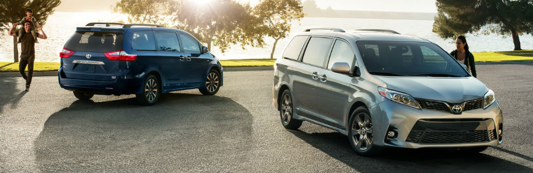 Two 2018 Toyota Sienna Exterior Passenger Side Front and Rear Profiles
