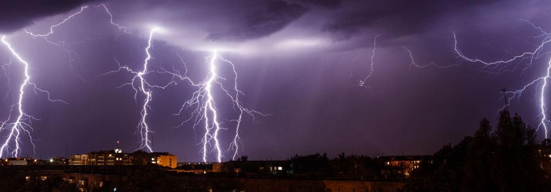 Weather Lightning Storm Over City