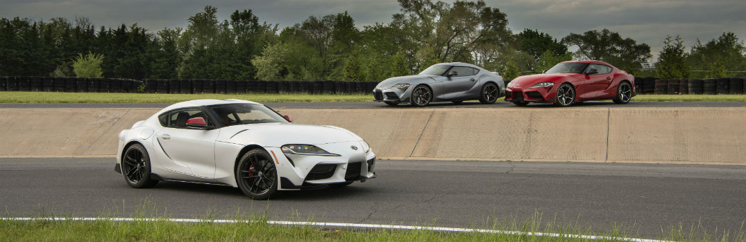 2020 Toyota GR Supra Exterior Passenger Side Front Profile with two other models in the background