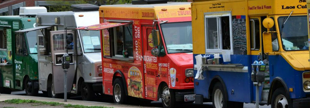 Food trucks on the side of the road