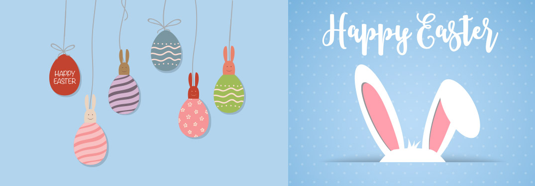 Blue Happy Easter graphic with brightly colored eggs and bunny ears